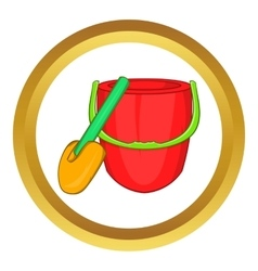 Children bucket with shovel icon vector