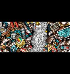 cinema hand drawn doodle banner cartoon detailed vector image