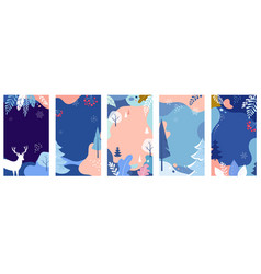 Collection abstract background designs winter vector