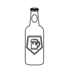 Contour bottle beer icon design vector