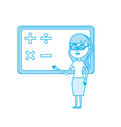 contour woman teacher teaching to the student in vector image