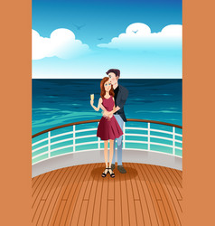 couple standing on deck vector image