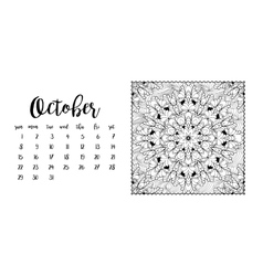 Desk calendar template for month October vector image