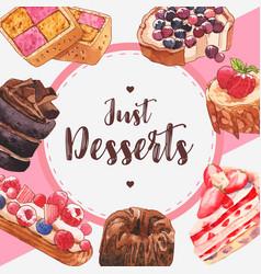 Dessert frame design with chocolate strawberry vector