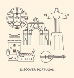 Discover portugal banner or poster template with vector