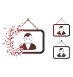 Dissolved dotted halftone man portrait icon with vector
