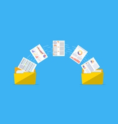 Files transfer documents management vector