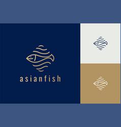 fish line art logo monogram logo vector image