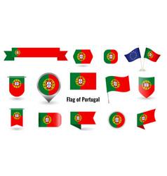 flag portugal big set icons and symbols vector image