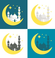 Flat design Ramadan background set vector image