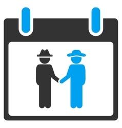 Gemtlemen handshake calendar day toolbar vector