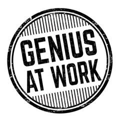 Genius at work grunge rubber stamp vector