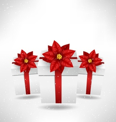 Gift boxes with poinsettia on grayscale vector