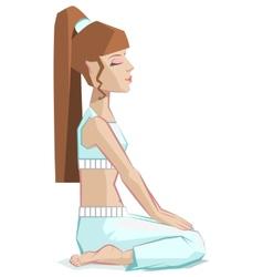 girl sitting in yoga pose virasana - hero pose vector image