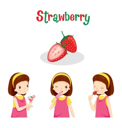 Girl With Strawberry Fruit Juice Ice Cream vector image