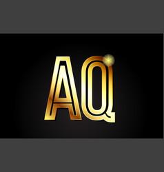 Gold alphabet letter aq a q logo combination icon vector