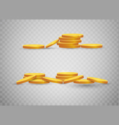 golden coins realistic gold money isolated on a vector image