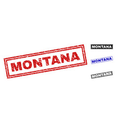 grunge montana scratched rectangle stamps vector image