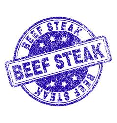 grunge textured beef steak stamp seal vector image