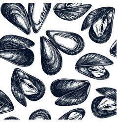 hand drawn mussels seamless pattern package vector image