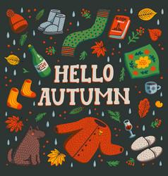 Hello autumn set autumn essentials on dark vector