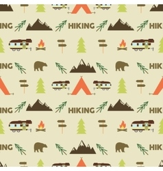 Hiking seamless pattern Hiking trail seamless vector