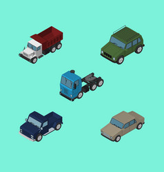 isometric transport set of freight armored suv vector image
