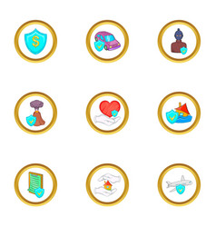 Life insurance icon set cartoon style vector