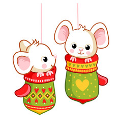 Little mice sitting in christmas mittens on a vector