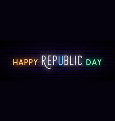 Long neon banner for india republic day vector