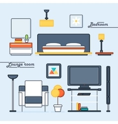 Lounge room and bedroom covers vector