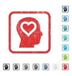 Love in head icon rubber watermark vector