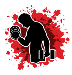 Man exercise with dumbbell graphic vector