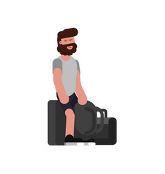man with traveling bags waiting vector image