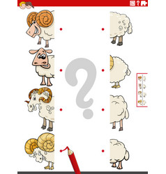 Match halves pictures with sheep educational vector