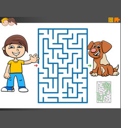 Maze game with cartoon boy and puppy vector