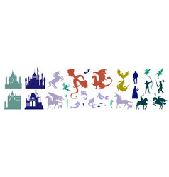 medieval castle and mythical fairy tale character vector image