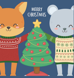 merry christmas celebration cute fox and rabbit vector image
