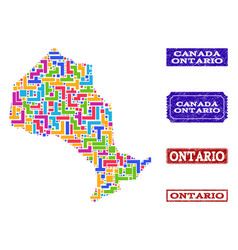 Mosaic map of ontario province and textured seals vector