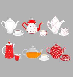 on theme big colored set different types teapots vector image