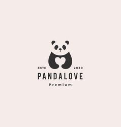 panda love logo hipster retro vintage icon vector image