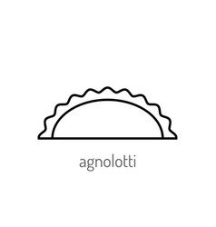 pasta flat linear icon isolated black and white vector image