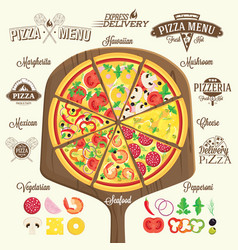 Pizza menu labels and design elements vector