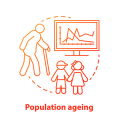 Population ageing concept icon elderly people vector