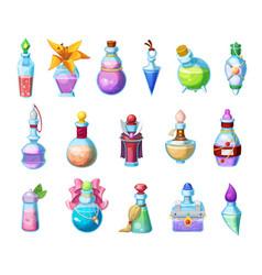 Potion bottles magic elixir in glass flasks icons vector