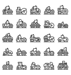road roller icons set outline style vector image