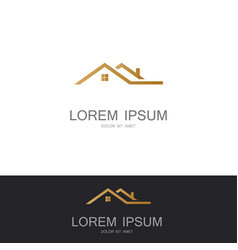 Roof building gold logo vector