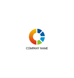 round power colored company logo vector image