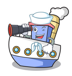 sailor with binocular ship mascot cartoon style vector image