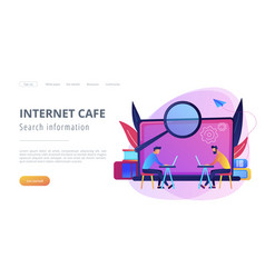 Search information and internet cafe landing page vector